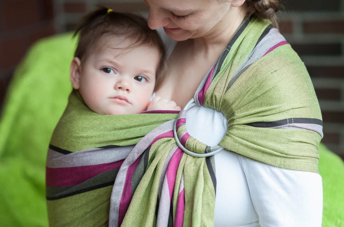 Ring Sling - 100% Cotton - Broken Twill Weave, with gathered shoulder -  Lime & Khaki #babywearing