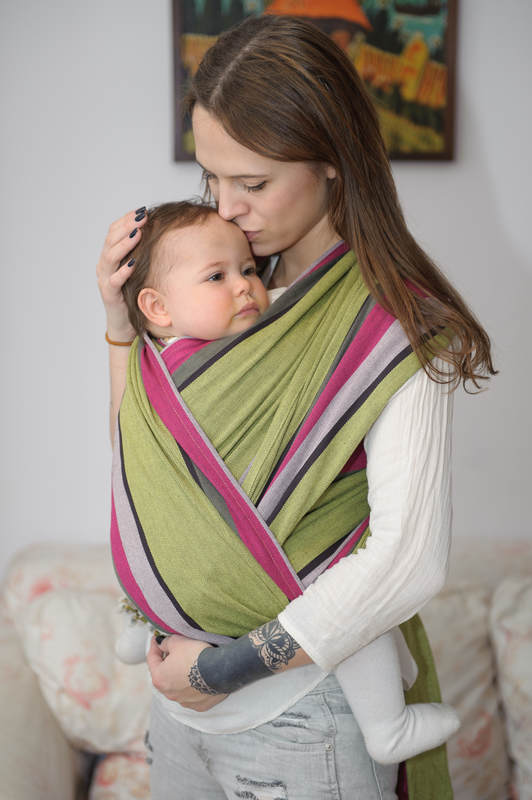 Baby Sling, Broken Twill Weave - Lime & Khaki - size L #babywearing