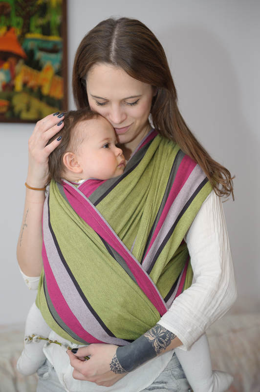 Baby Sling, Broken Twill Weave (100% cotton) - LIME & KHAKI - size XS #babywearing