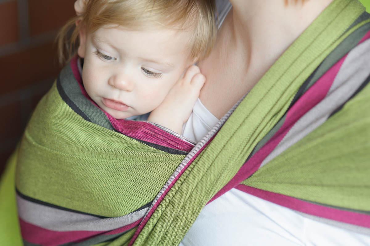 Baby Sling, Broken Twill Weave - Lime & Khaki - size S #babywearing