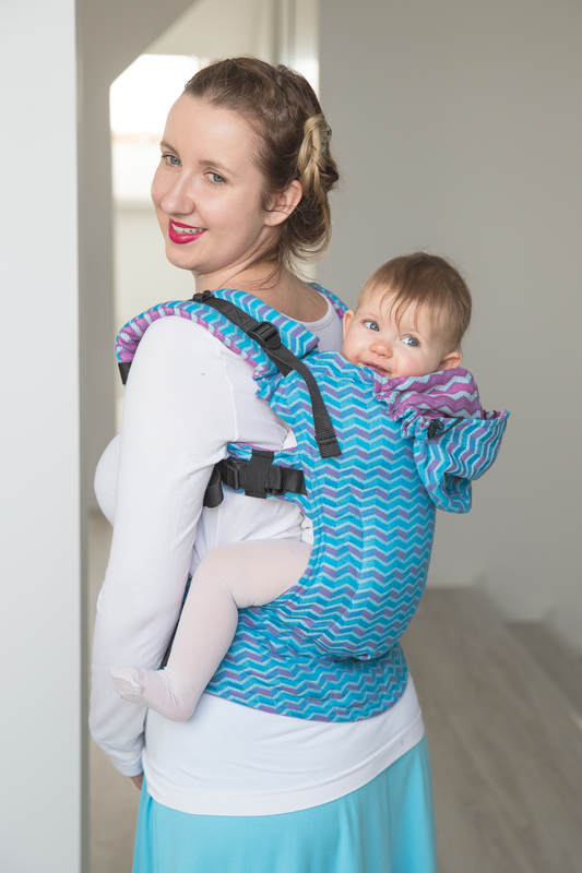 Ergonomic Carrier, Toddler Size, jacquard weave 100% cotton - ZigZag Turquoise & Pink - Second Generation. (grade B) #babywearing