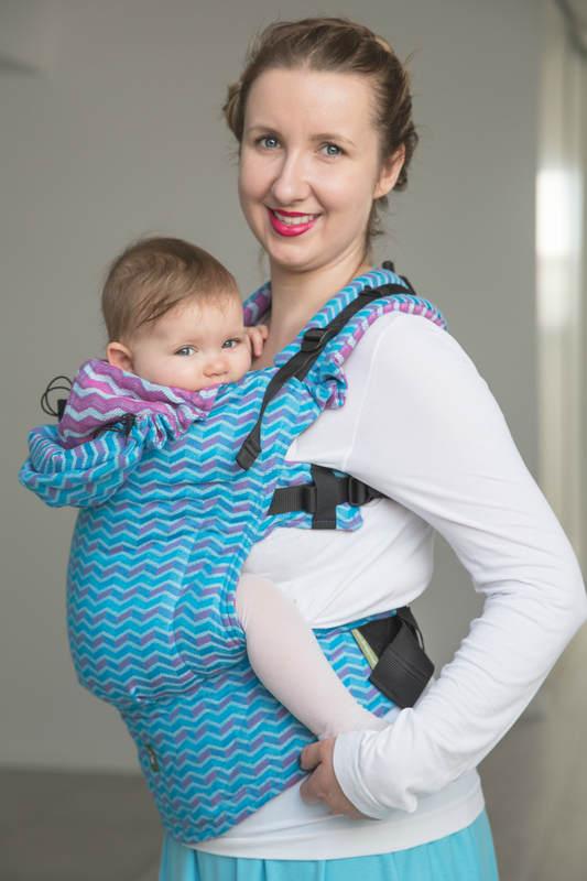 Nosidełko Ergonomiczne z tkaniny żakardowej 100% bawełna , Baby Size, ZigZag Turkus z Różem - Druga Generacja. #babywearing