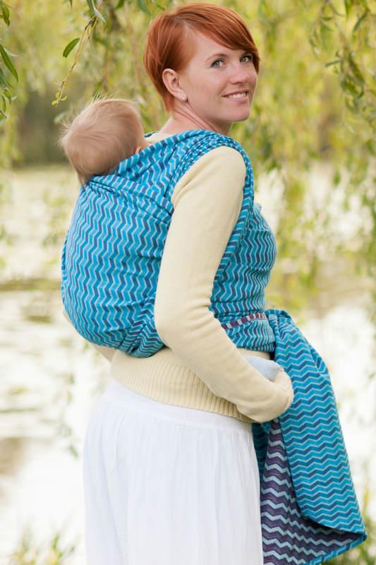 Baby Wrap, Jacquard Weave (100% cotton) - ZIGZAG TURQUOISE & PURPLE - size XS (grade B) #babywearing