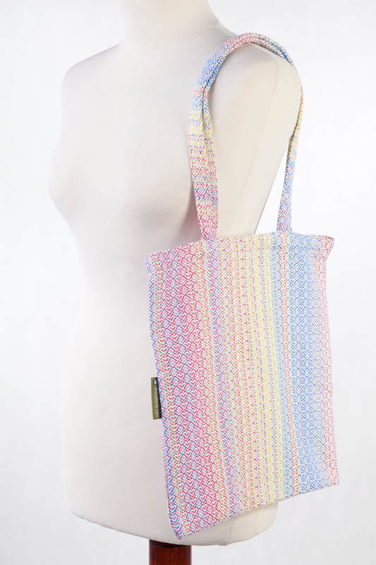 Shopping bag made of wrap fabric (60% combed cotton, 28% Merino wool, 8% silk, 4% cashmere) - LITTLE LOVE - DAZZLE  #babywearing