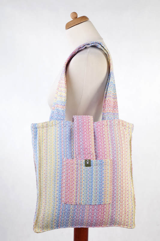 Shoulder bag made of wrap fabric (60% combed cotton, 28% Merino wool, 8% silk, 4% cashmere) - LITTLE LOVE - DAZZLE - standard size 37cmx37cm #babywearing