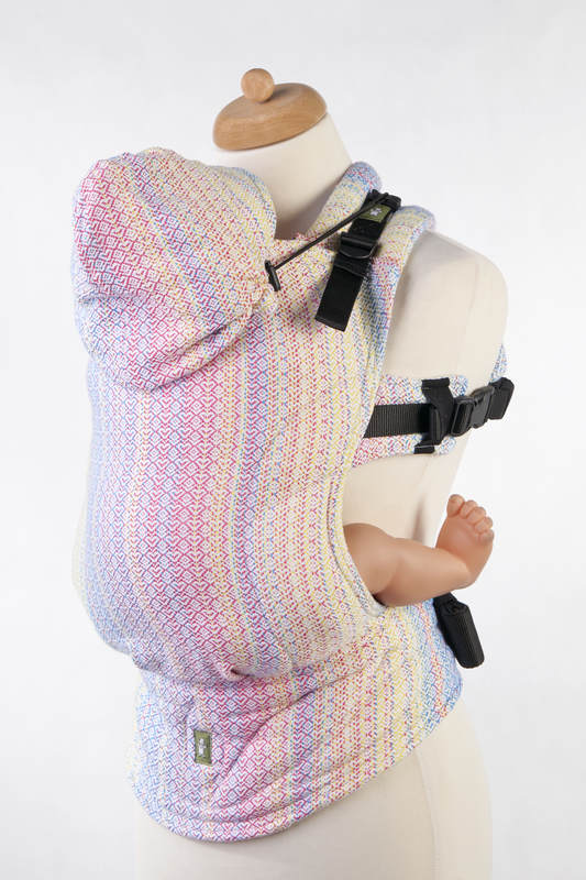 Ergonomic Carrier, Toddler Size, jacquard weave 60% combed cotton, 28% Merino wool, 8% silk, 4% cashmere - LITTLE LOVE - DAZZLE, Second Generation #babywearing