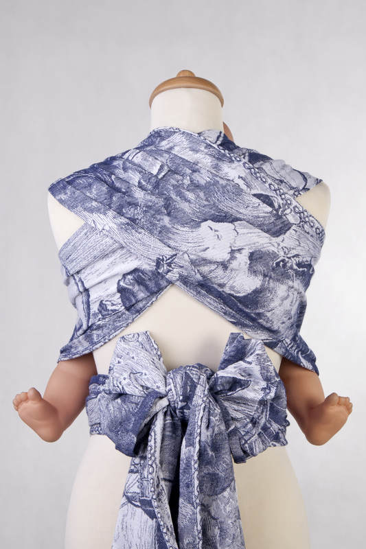 WRAP-TAI carrier Mini with hood/ jacquard twill / 100% cotton / GALLEONS NAVY BLUE & WHITE #babywearing