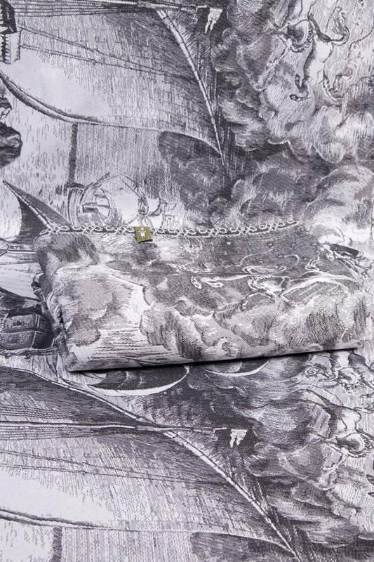Baby Wrap, Jacquard Weave (100% cotton) - GALLEONS BLACK  & WHITE - size XS (grade B) #babywearing