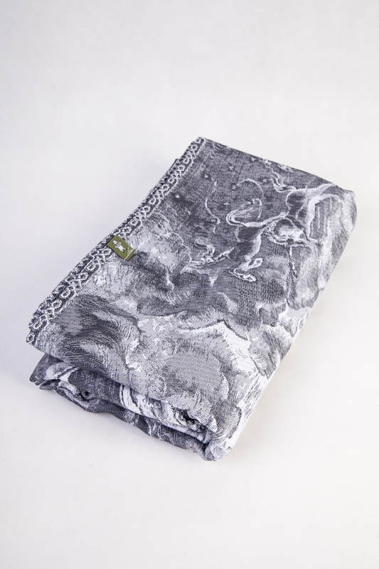 Baby Wrap, Jacquard Weave (100% cotton) - GALLEONS BLACK  & WHITE - size M #babywearing