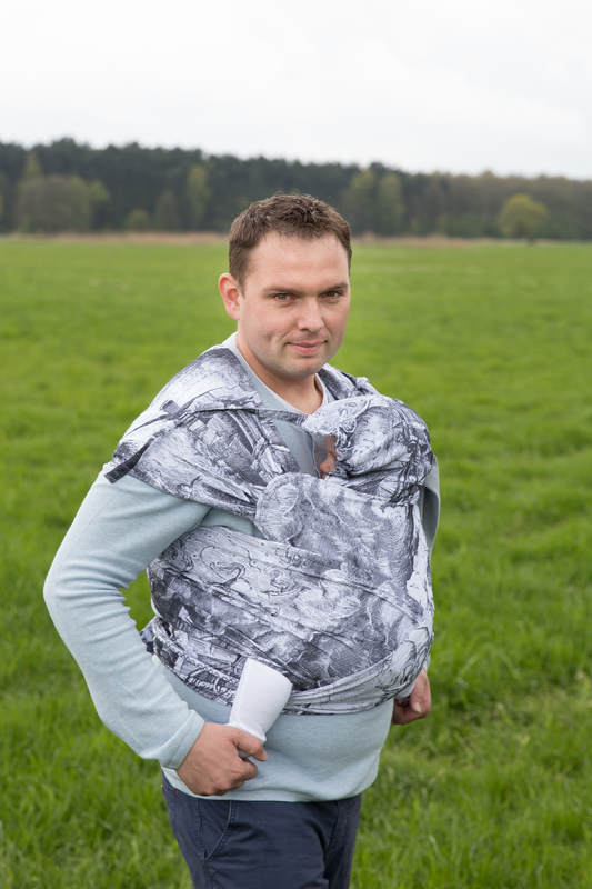 WRAP-TAI carrier Toddler with hood/ jacquard twill / 100% cotton / GALLEONS BLACK  & WHITE (grade B) #babywearing