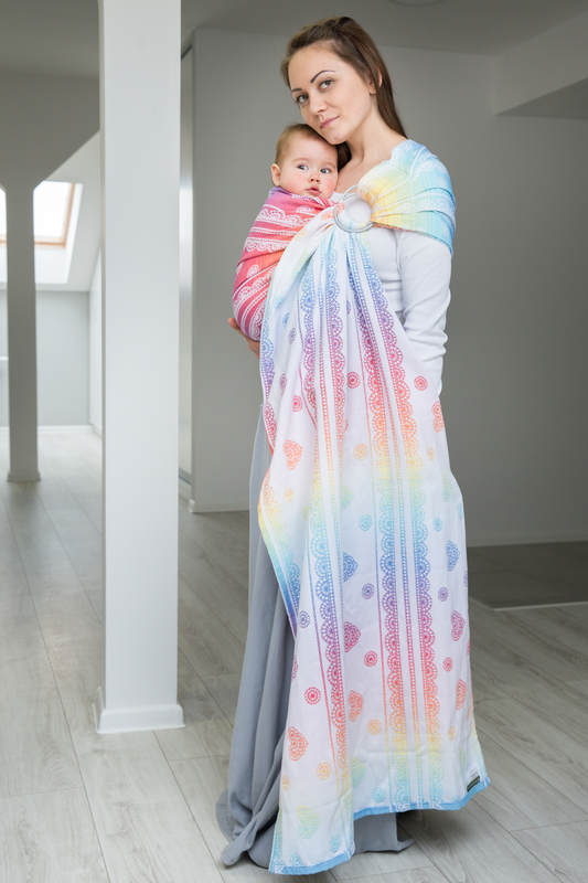 Ringsling, Jacquard Weave (100% cotton) - RAINBOW LACE - long 2.1m #babywearing