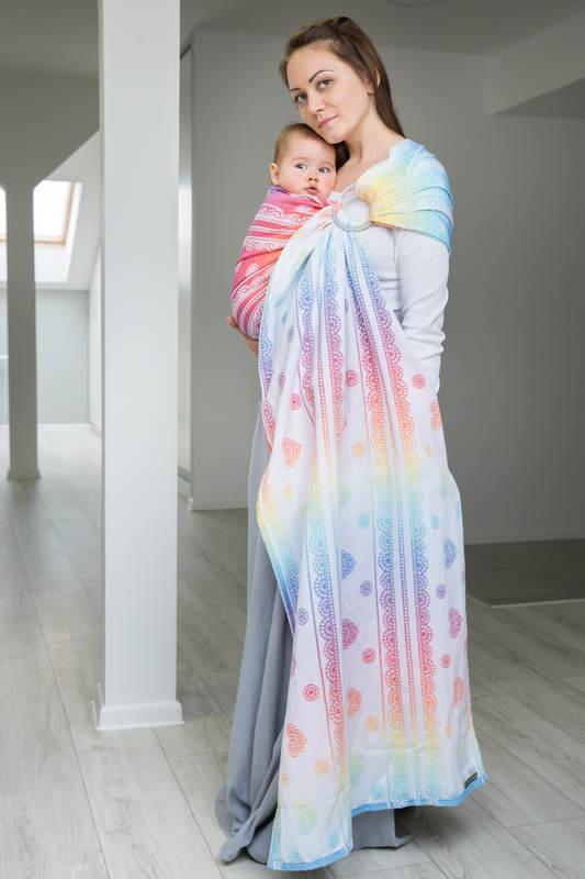 Żakardowa chusta kółkowa do noszenia dzieci, bawełna - TĘCZOWA KORONKA - long 2.1m #babywearing