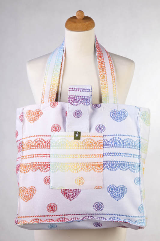 Shoulder bag made of wrap fabric (100% cotton) - RAINBOW LACE Reverse  - standard size 37cmx37cm #babywearing