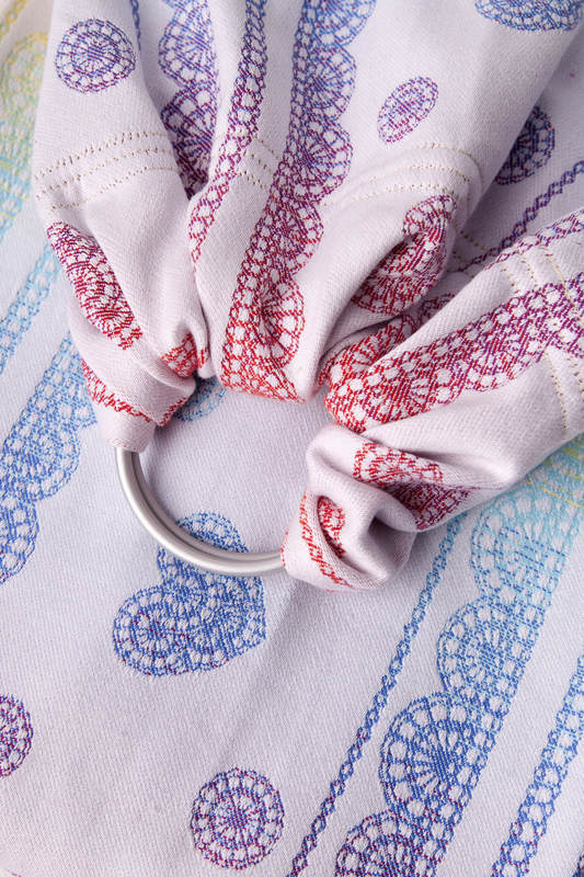 Ringsling, Jacquard Weave (100% cotton) - with gathered shoulder - RAINBOW LACE Reverse  - long 2.1m #babywearing