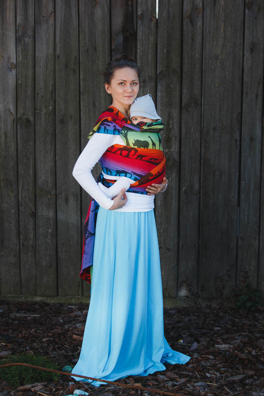 4f73fe7aa94 WRAP-TAI carrier Toddler with hood  jacquard twill   100% cotton   RAINBOW