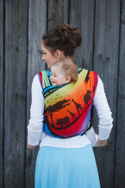 Baby Wrap Jacquard Weave 100 Cotton Rainbow Safari 2 0 Size L