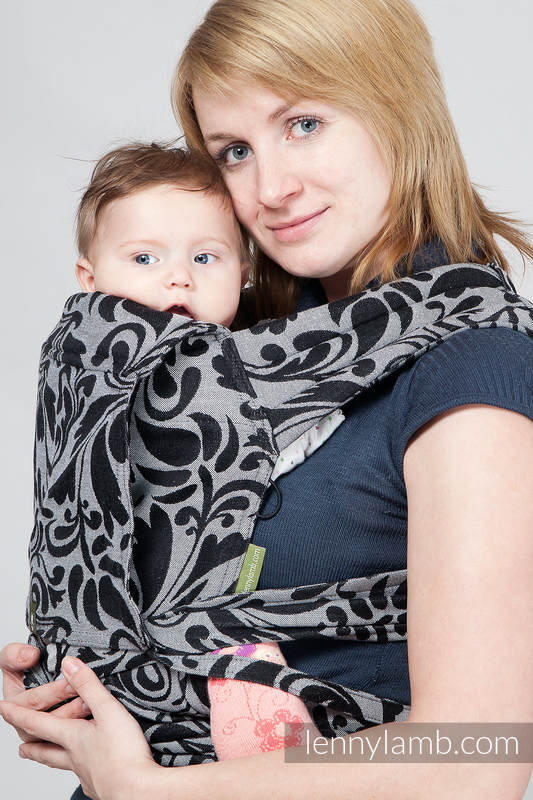 Mei Tai carrier Mini with hood/ jacquard twill / 100% cotton /  Twisted Leaves Black & White #babywearing