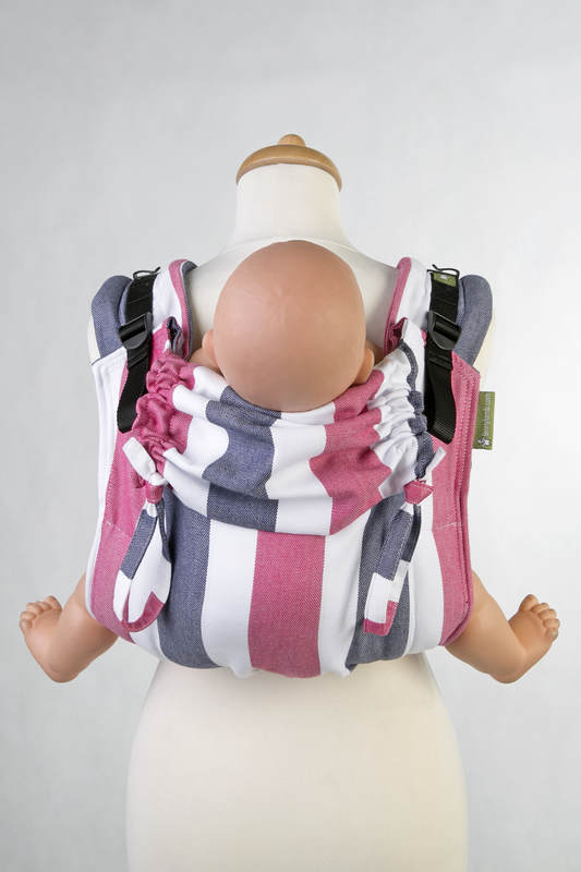 Lenny Buckle Onbuhimo baby carrier, standard size, broken-twill weave (60% cotton, 40% bamboo) - MARINE #babywearing