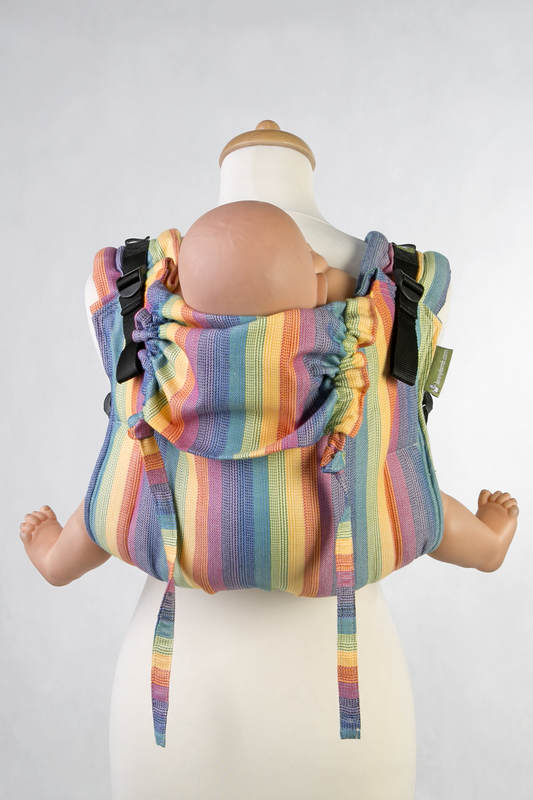 Lenny Buckle Onbuhimo baby carrier, standard size, broken-twill weave (60% cotton, 40% bamboo) - RAINBOW LIGHT #babywearing