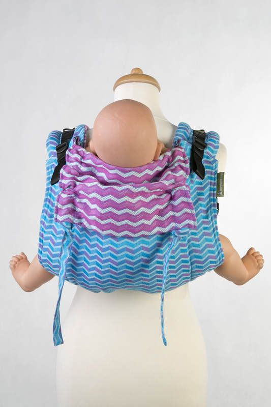 Lenny Buckle Onbuhimo baby carrier, standard size, jacquard weave (100% cotton) - IGZAG TURQUOISE & PINK (grade B) #babywearing