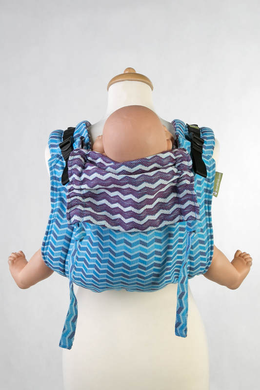 Lenny Buckle Onbuhimo, standard size, jacquard weave (100% cotton) - Wrap conversion from ZIGZAG TURQUOISE & PURPLE (grade B) #babywearing