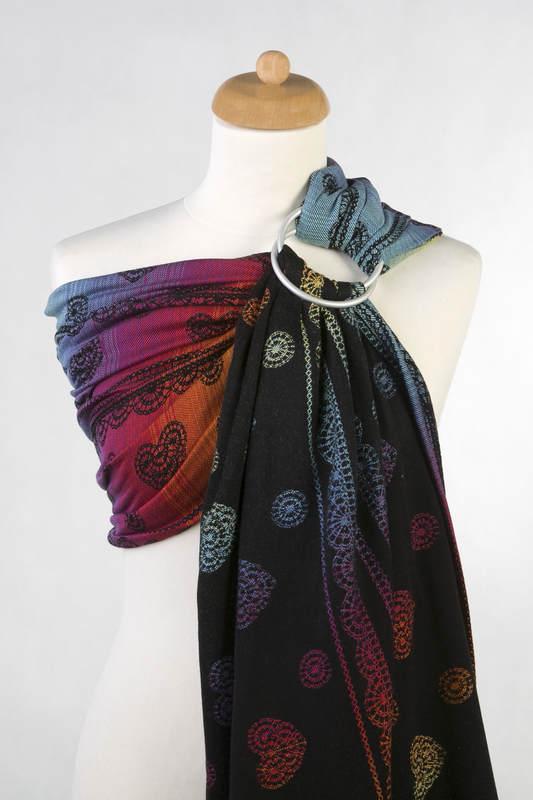 Bandolera de anillas, tejido Jacquard (100% algodón) - RAINBOW LACE DARK - standard 1.8m #babywearing