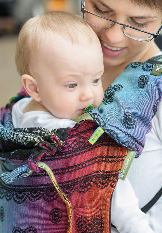 Lenny Buckle Onbuhimo Tragehilfe, Größe Standard, Jacquardwebung (100% Baumwolle) - RAINBOW LACE DARK #babywearing