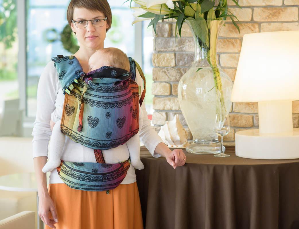 Lenny Buckle Onbuhimo Tragehilfe, Größe Standard, Jacquardwebung (100% Baumwolle) - RAINBOW LACE DARK (Grad B) #babywearing