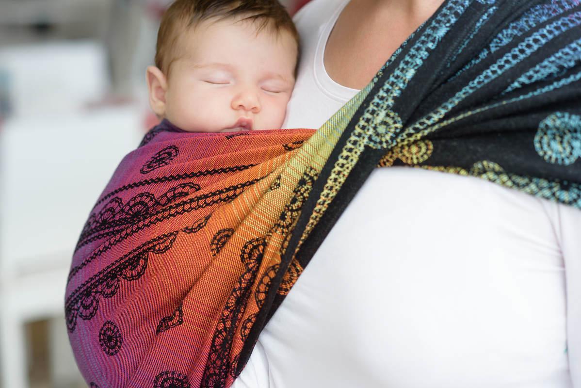 Baby Wrap, Jacquard Weave (100% cotton) - RAINBOW LACE DARK - size L #babywearing