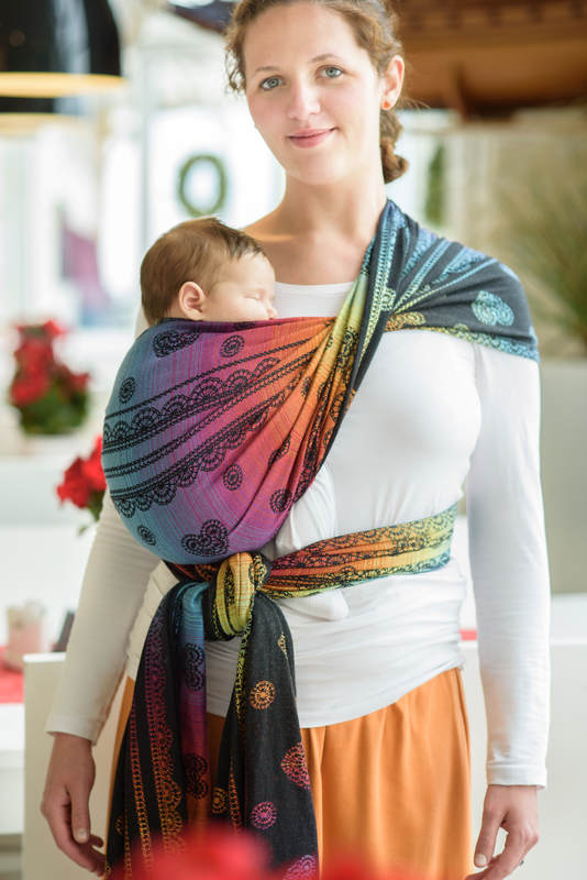 Baby Wrap, Jacquard Weave (100% cotton) - RAINBOW LACE DARK - size XL #babywearing