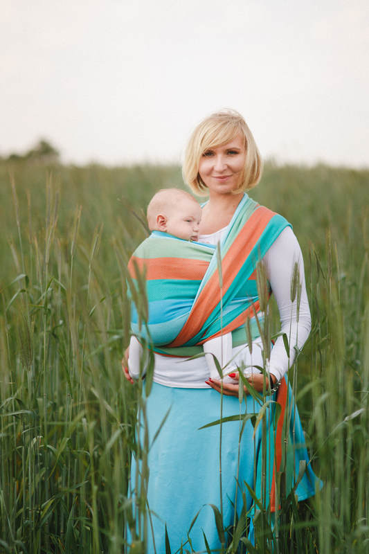 Baby Wrap, Herringbone Weave (100% cotton) - LITTLE HERRINGBONE SUNFLOWER - size L (grade B) #babywearing