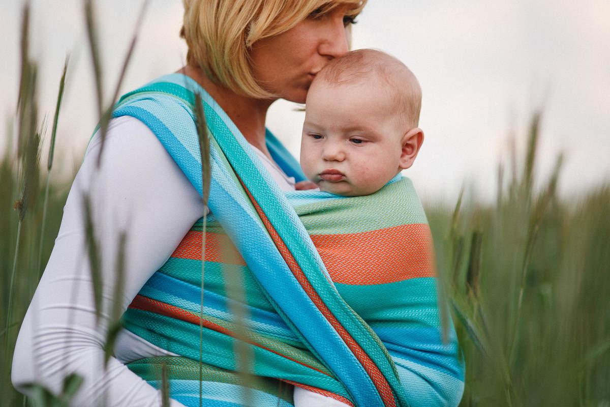 Tragetuch, Fischgrätmuster (100% Baumwolle) - LITTLE HERRINGBONE SUNFLOWER - Größe L (grad B) #babywearing