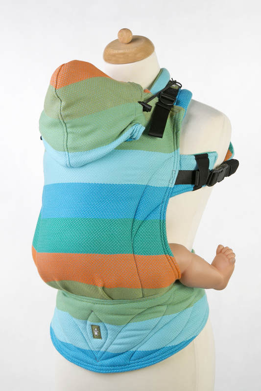 Ergonomic Carrier, Baby Size, herringbone weave 100% cotton - LITTLE HERRINGBONE SUNFLOWER- Second Generation (grade B) #babywearing