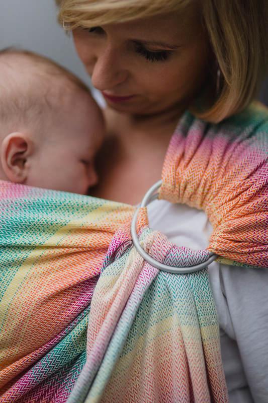 RingSling, Jacquardwebung (100% Baumwolle), mit Raffung an den Ringen - LITTLE HERRINGBONE LANTANA - standard 1.8m #babywearing