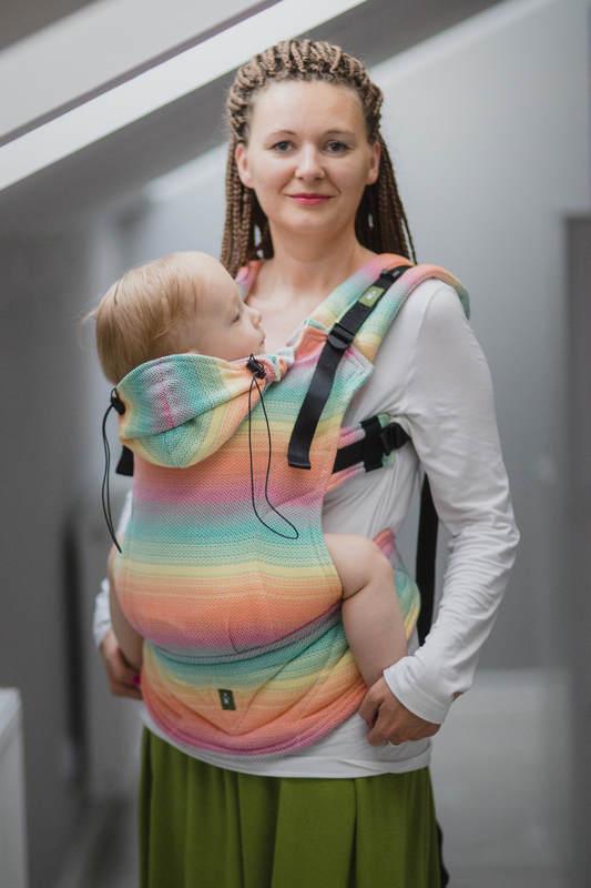 Ergonomic Carrier, Baby Size, herringbone weave 100% cotton - LITTLE HERRINGBONE IMAGINATION - Second Generation (grade B) #babywearing