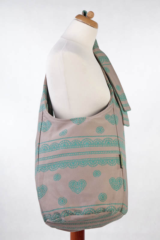 Hobo Bag made of woven fabric, 100% cotton - PISTACHIO LACE, Reverse (grade B) #babywearing