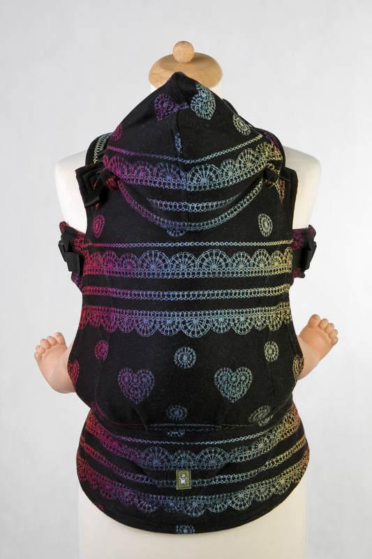 Ergonomic Carrier, Baby Size, jacquard weave 100% cotton - RAINBOW LACE DARK REVERSE - Second Generation (grade B) #babywearing