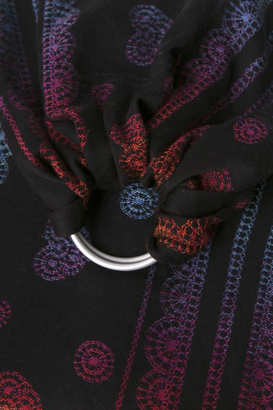 RingSling, Jacquardwebung (100% Baumwolle), Raffung an den Ringen - RAINBOW LACE DARK REVERS - long 2.1m #babywearing