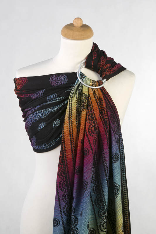 Ringsling, Jacquard Weave (100% cotton) - with gathered shoulder -  RAINBOW LACE DARK Reverse - long 2.1m #babywearing