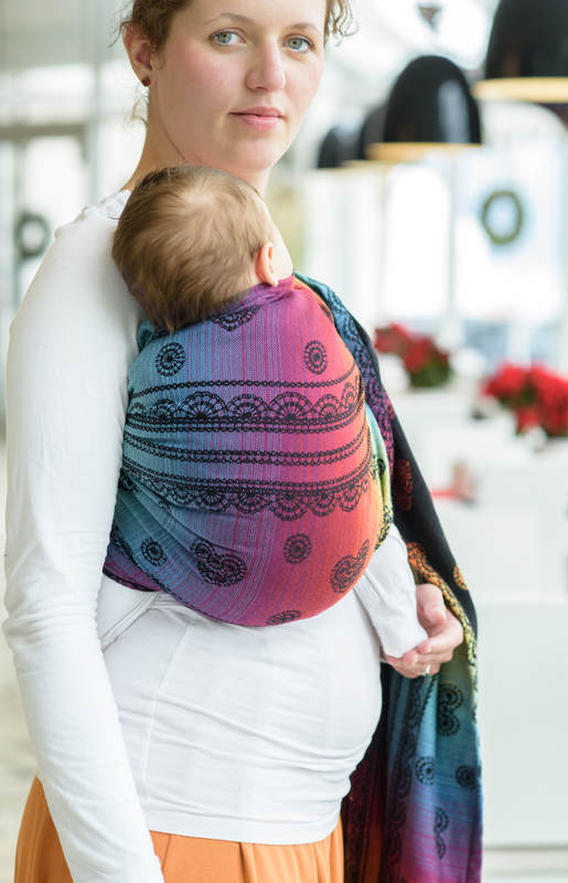 Ringsling, Jacquard Weave (100% cotton), with gathered shoulder - RAINBOW LACE DARK - standard 1.8m #babywearing