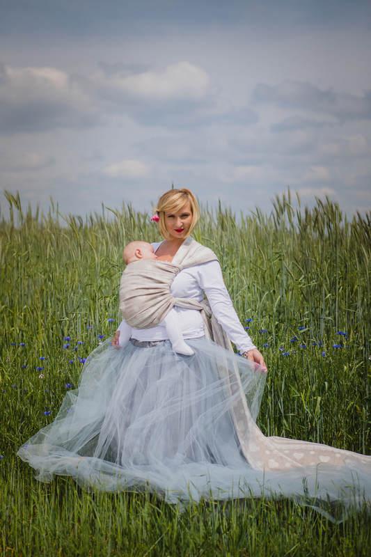 Baby Wrap, Jacquard Weave (60% cotton, 28% linen 12% tussah silk) - PORCELAIN LACE - size XL #babywearing