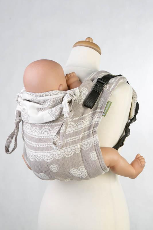 Lenny Buckle Onbuhimo Tragehilfe, Größe Standard, Jacquardwebung (60% Baumwolle, 28% Leinen, 12% Tussahseide) - PORCELAIN LACE #babywearing