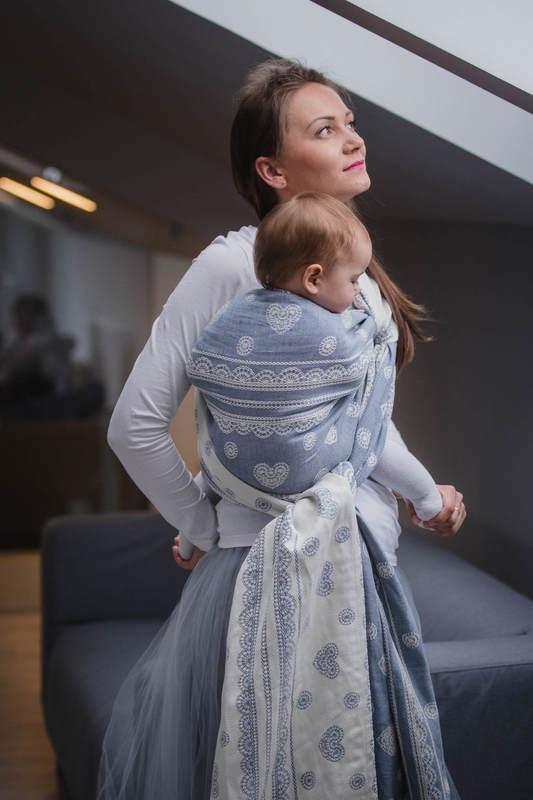 Baby Wrap, Jacquard Weave (60% cotton, 28% linen 12% tussah silk) - ROYAL LACE - size XL #babywearing