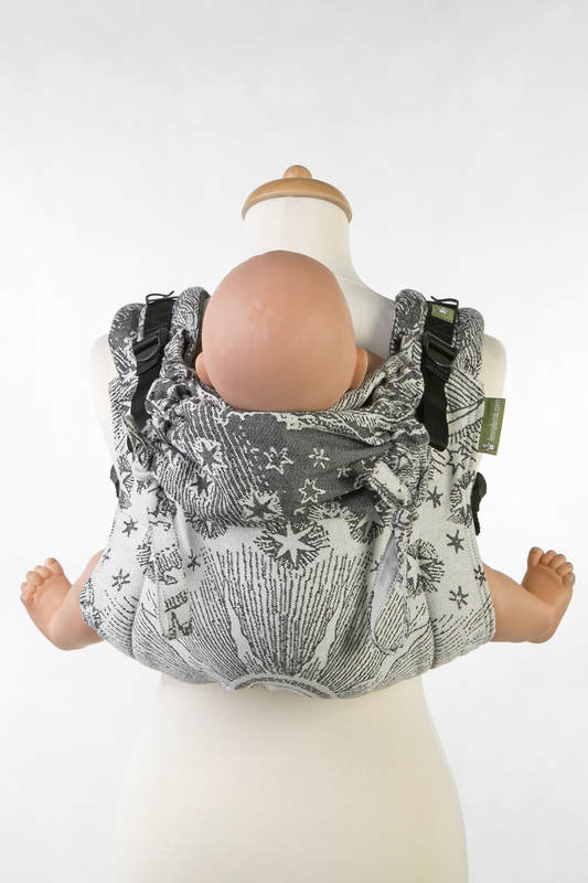 Lenny Buckle Onbuhimo baby carrier, standard size, jacquard weave (100% cotton) - HORIZONS VERGE BLACK & CREAM (grade B) #babywearing