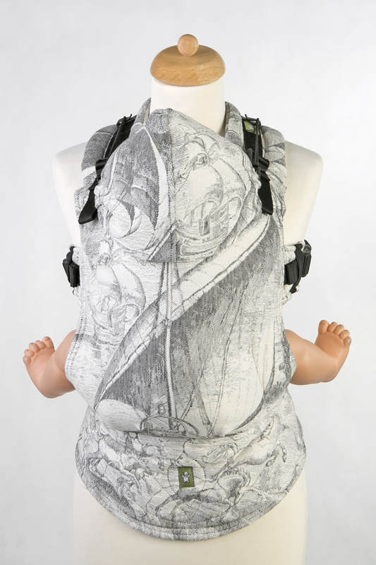 Ergonomic Carrier, Toddler Size, jacquard weave 60% cotton 40% linen - LINEN GALLEONS BLACK & CREAM, Second Generation #babywearing