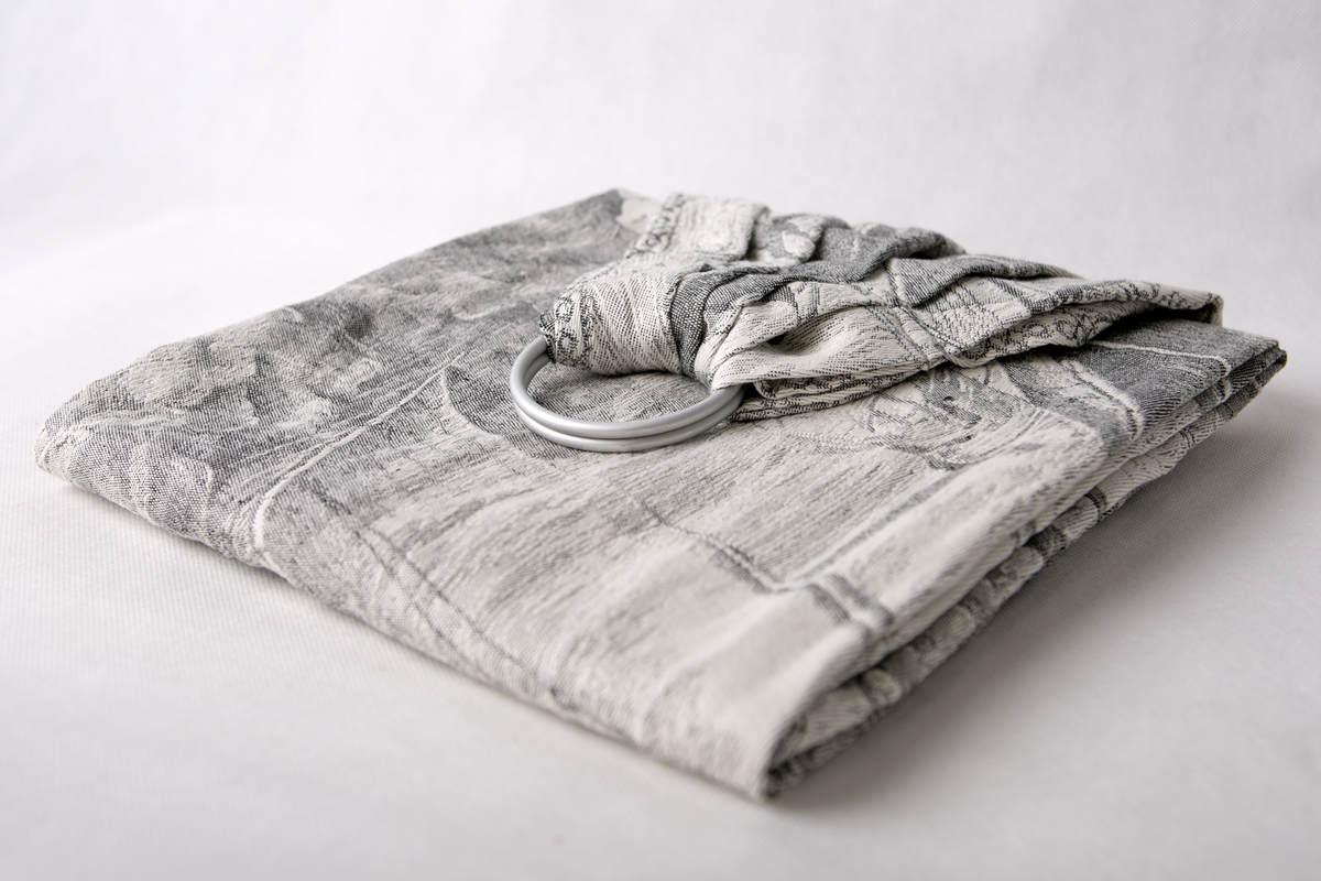 Ringsling, Jacquard Weave (60% cotton, 40% linen) - LINEN GALLEONS BLACK & CREAM - long 2.1m #babywearing