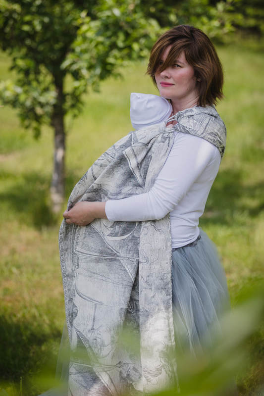 Ringsling, Jacquard Weave, with gathered shoulder (60% cotton 40% linen) - LINEN GALLEONS BLACK & CREAM (grade B) #babywearing