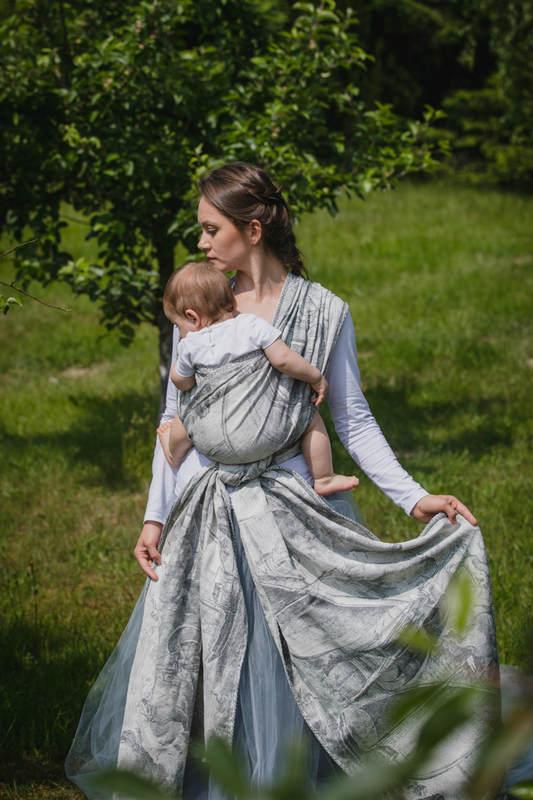 Baby Wrap, Jacquard Weave (60% cotton, 40% linen) - LINEN GALLEONS BLACK & CREAM - size M #babywearing