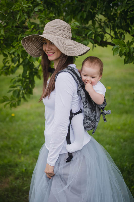 Lenny Buckle Onbuhimo baby carrier, standard size, jacquard weave (60% cotton 40% linen) - LINEN TIME (without skull) (grade B) #babywearing