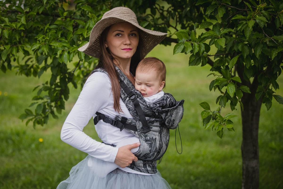 Ergonomische Tragehilfe, Größe Baby, Jacquardwebung, 60% Baumwolle, 40% Leinen -  LINEN TIME - Zweite Generation #babywearing